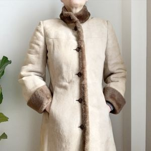 Vintage Montreal Leather Shearling Coat Tan 8